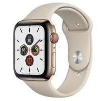 Apple Watch Series 5 44mm Stainless Steel Gold with White Sport Band