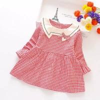 M-Kids - Dress Anak Lengan Panjang Motif Kotak