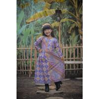 Welans Batik - Kebaya Anak - Long dress/Gamis - Motif LP28 - Ungu, L