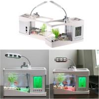 Akuarium Mini USB Desktop Aquqrium With Running Water & LCD DIsplay