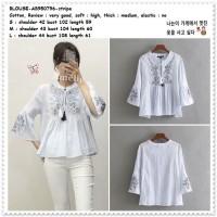 AB950796 Baju Atasan Boho Garis Wanita Blouse Korea Import Biru Putih