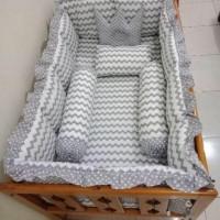 bumper box baby tanpa bedcover motif baby retro grey
