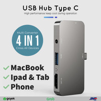 USB Hub 3.0 Type C 4 port in 1 for Macbook Ipad pro Tab Phone