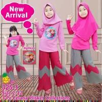 Little Pineapple Baju Muslim Anak Frozen Kulot Plisket LED 325-1
