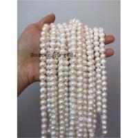 Bahan Aksesoris Mutiara Air Tawar Barok / Baroque 8 x 14mm Bulat pearl