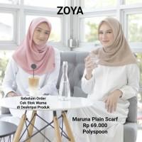 Hijab Jilbab Kerudung Segi Empat MARUNA PLAIN Scarf ZOYA original