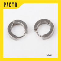 ANTING JEPIT PRIA TINDIK - NO MAGNET TITANIUM STEEL 2 PCS (1 PASANG) - Silver, L