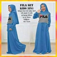 Baju Gamis Anak Perempuan - Fila Set Kid 3 In 1