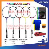 PROMO PAKET KOMPLIT YONEX NANOFLARE DRIVE RAKET BADMINTON ORIGINAL
