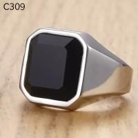 Cincin Pria Unisex Titanium Lapis Emas Batu Onyx Black Square C309