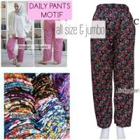 Celana Panjang Wanita All Size & Jumbo Model Los Motif Celana Santai