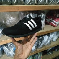 sepatu jogging sekolah sport adidas neo hitam list putih