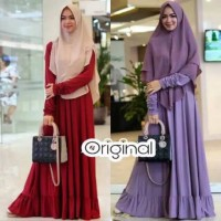 Safeeya Rempel Dress Baju Gamis Syari Jersey Modern