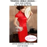 Dress gaun merah wanita imlek sincia tahun baru cina kondangan jumbo