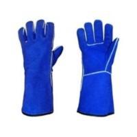 Sarung Tangan Las Kulit Tebal Panjang 14 inch Warna biru Best quality