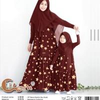 Baju Couple Muslim Cp Stare Gamis Mom Kids 2in1 Maroon Talx.5726