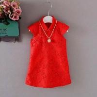Dress bayi perempuan / Dress cheongsam merah / baju imlek bayi cewek