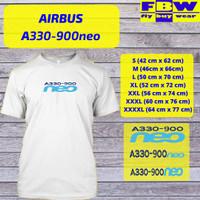 Baju Kaos T-Shirt Penerbangan Pesawat Airbus A330-900neo - Putih, S