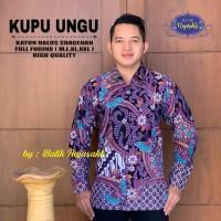 Kemeja Batik Pria Kupu Ungu Bahan sanforest Size M-XXl/Baju batik Pria