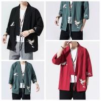 ORI Linen Vintage Cheongsam Baju Imlek Sincia Pria Kimono Bigsize