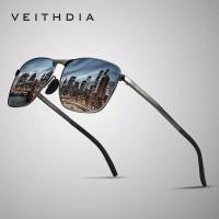 Original kacamata pria polarized sunglasses UV Veithdia 2462 - Abu-abu