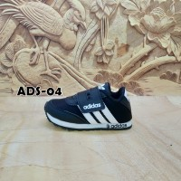 sepatu anak murah Adidas hitam garis putih ADS-04
