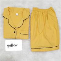 Baju Tidur Cewek/Wanita Piyama/Pajamas Katun Motif Polos Kuning (HP)