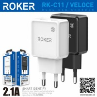 CHARGER ROKER ORIGINAL VELOCE 2.1A DUAL USB MICRO USB RK-C11