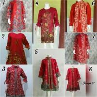 Baju Tunik Dress Batik Wanita Spesial Merah Imlek