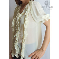 Baju Atasan Blouse Neck-V Wanita Viscose Chiffon Floral White Murah Im