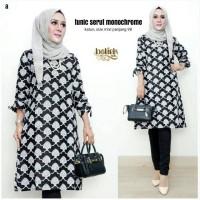 Baju Atasan Tunik Monochrome Monokrom Abu Batik Muslimah