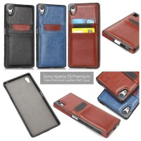 Xperia Z5 PREMIUM leather bumper back cover soft case with slot card