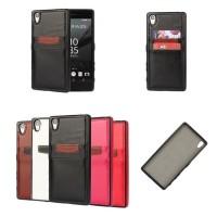 Xperia Z5 Card Slot Leather Bumper Soft Case back Cover Tpu Softcase 2