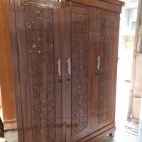lemari baju 3 pintu swing kayu jati asli