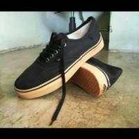Sepatu Vans Authentic Hitam sol cokelat gum Sneakers pria wanita