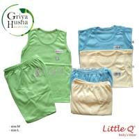 Setelan baju bayi kaos kutung celana pendek Little Q - singlet bayi