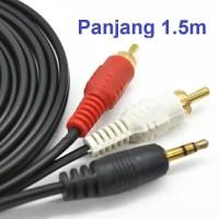 Kabel Audio RCA 1x2 Jack 3.5mm - AUX 1 ke 2 Warna Hitam Original -