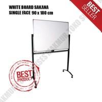 Whiteboard SAKANA 90 x 180 cm White Board Single Face Kaki Roda