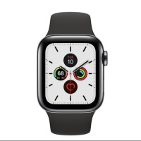 Apple Watch Series 5 44mm Stainless Steel Black With Black Sport Band