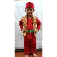 Setelan Baju Pangsi Betawi Anak Setelan Sabuk Peci dan Cukin Batik - Hijau, 1