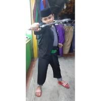 Setelan Baju Pangsi Betawi Anak Lengkap Sabuk Peci Dan Golok Kayu