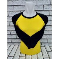 Kaos Polos Raglan - Kuning Hitam Lengan Panjang