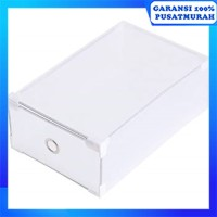 Kotak Sepatu Transparan Frame Stainless Shoes Box Transparent - Putih