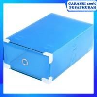 Kotak Sepatu Transparan Frame Stainless Shoes Box Transparent - Biru