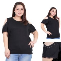 blouse bigsize wanita LD 126 ( FIT TO 3XL ) atasan bahu bolong vega