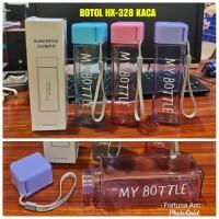 Botol Minum HX-328 Kaca 420 Ml Tempat Air Minum Design My Bottle Segi