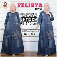 Baju gamis bahan jeans cantik size XXL terbaru - Felisya