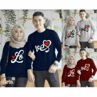 Kaos couple love foil lengan panjang - baju pasangan love font