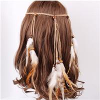 Ikan Kepala Headband Rambut Bulu Bohemian Indian Bando Bandana Kepala