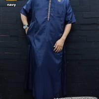 Gamis Pria Lengan Pendek Hoodie Al Amwa Navy - Jubah Pria Dewasa Navy